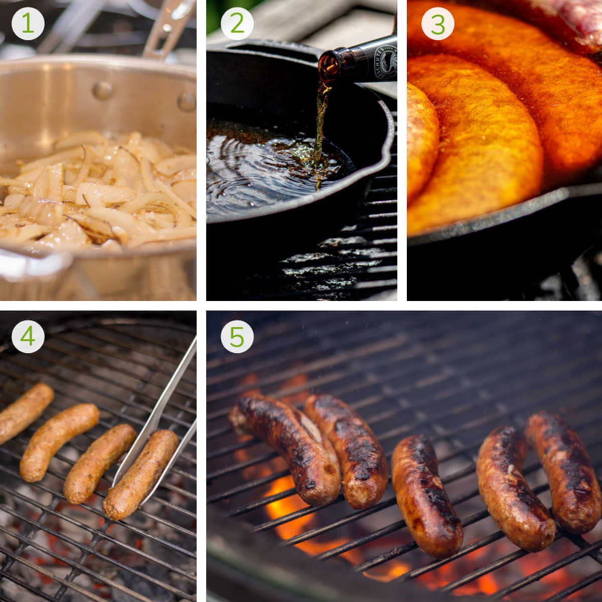 photos showing sautéing the onions, pouring the beer, boiling the brats and then grilling.