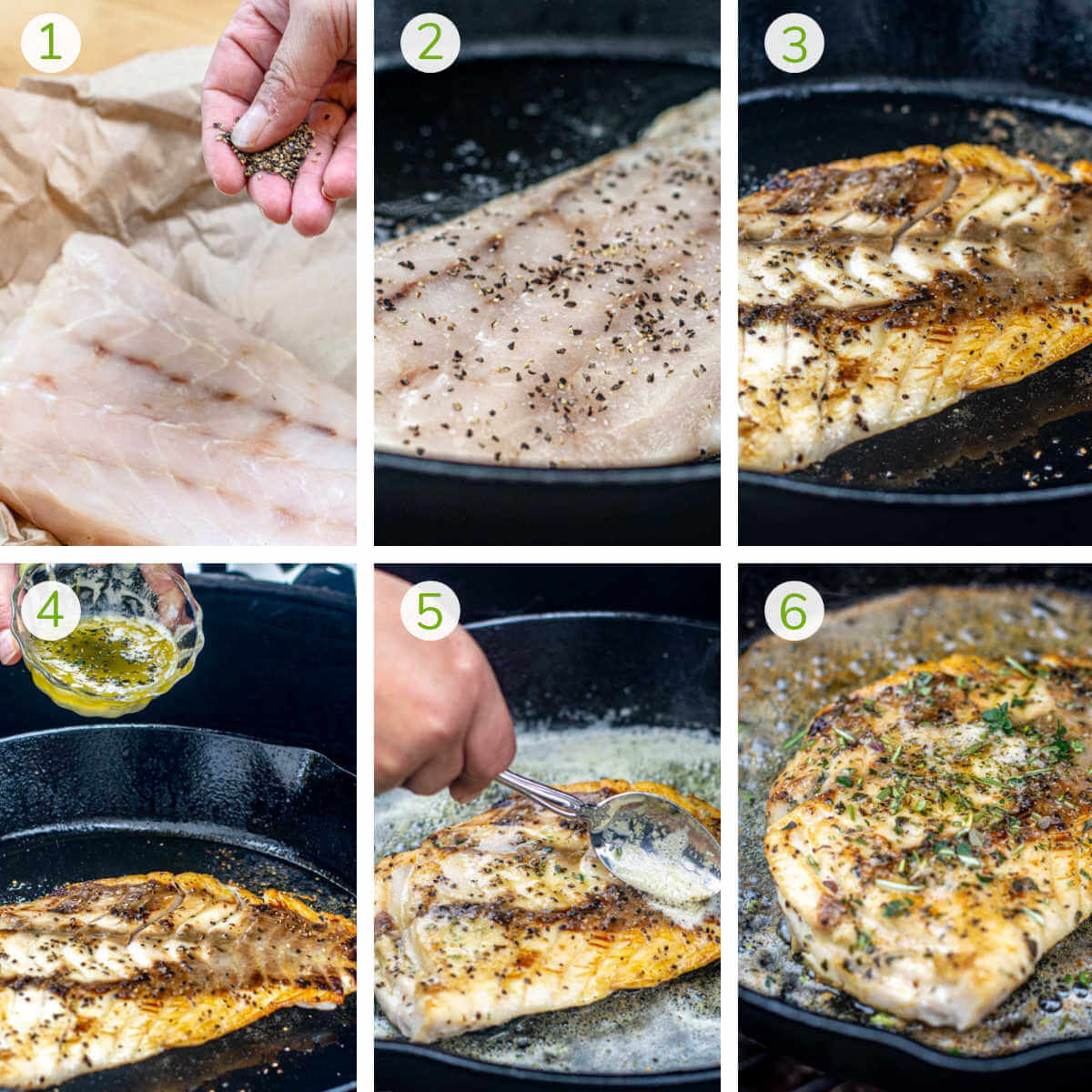 six photos showing how to season the fillet, cook it in the cast iron skillet and top it with brown butter and herbs.