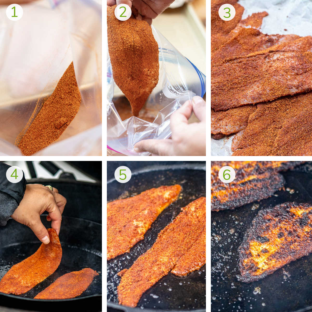 process photos showing how to apply the blackening rub, adding to the cast iron on the grill and turning it over.
