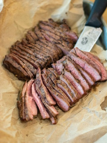thinly sliced sliced ranch steaks on butcher paper.