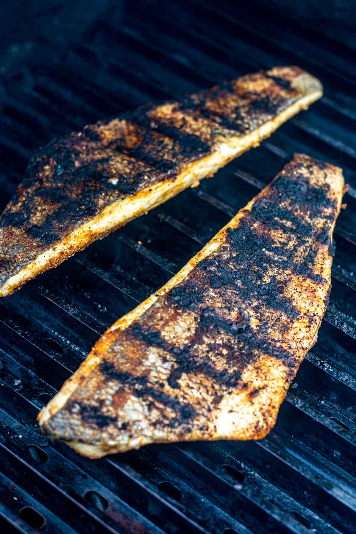 two fillets of Branzino on the grill with a light coating of Jamaican jerk seasoning.
