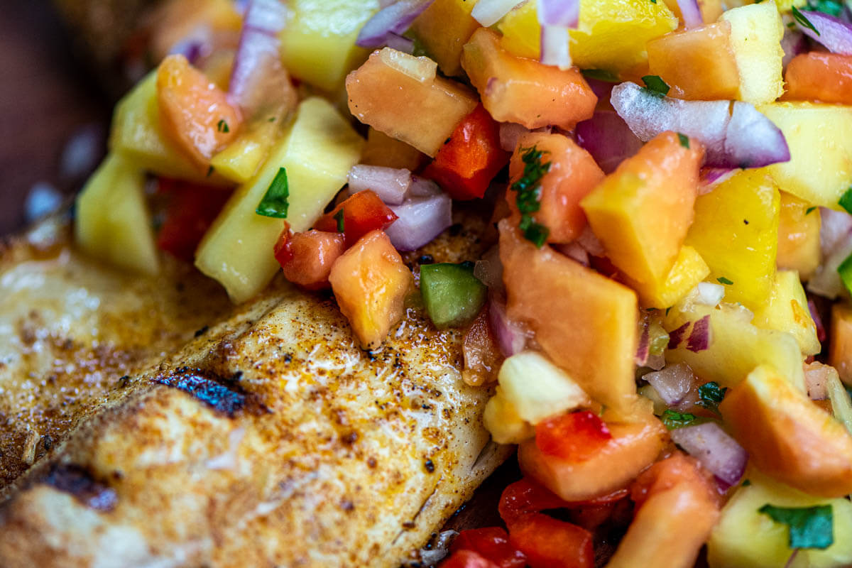 juicy fish fillet with a jerk seasoning topped with a finely chopped Caribbean salsa.