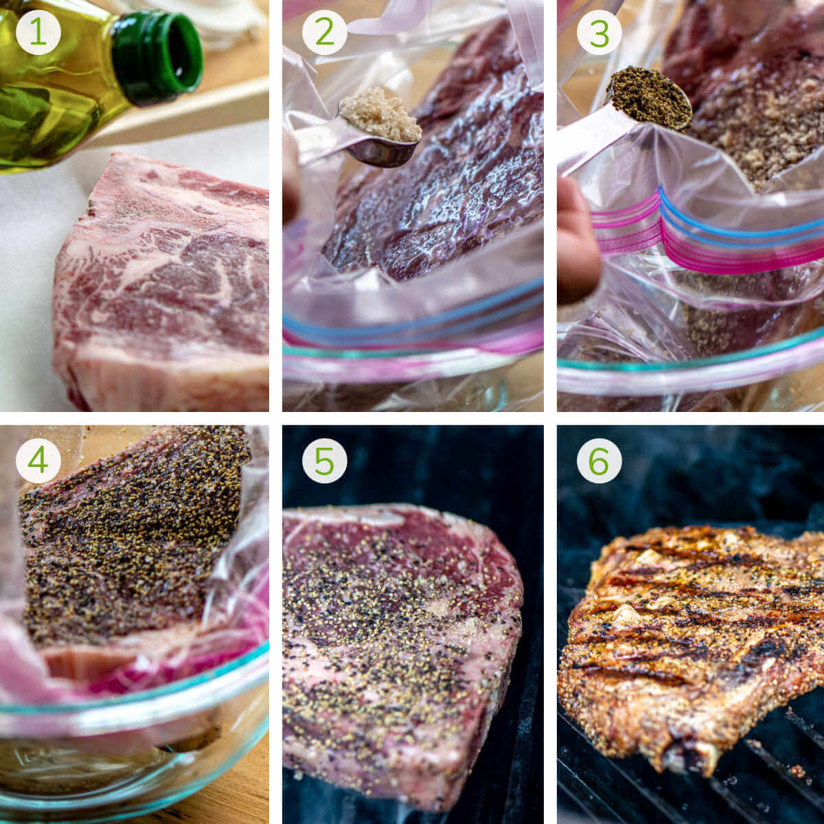 series of photos showing the process to coat the steak with bourbon salt and pepper and grilling the t bone.