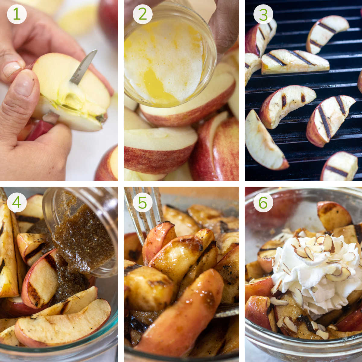 several process photos showing how to prepare apples for the grill, adding butter, coating with a brown sugar mix and serving.