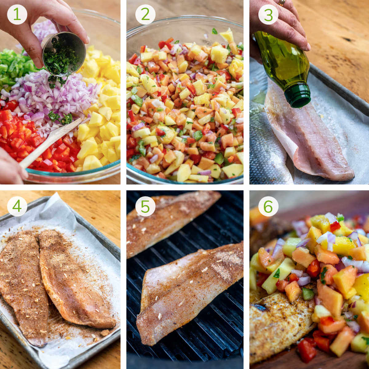 process photos showing making the Caribbean fruit salsa, adding the jerk seasoning to the fish and grilling the Branzino.