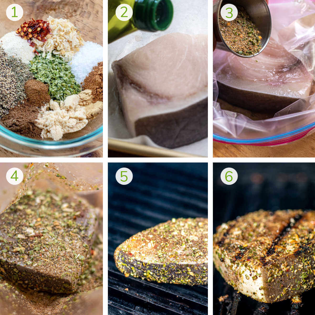photos showing the process to combine the jerk seasoning, add the swordfish to a Ziploc to cover and then grilling.