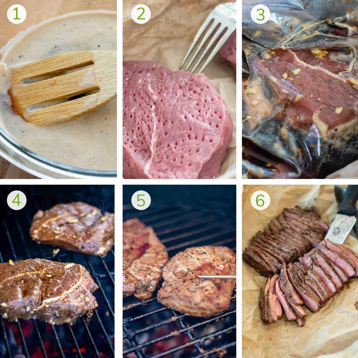 process photos showing making the marinade, tenderizing the ranch steak, grilling and then slicing it.