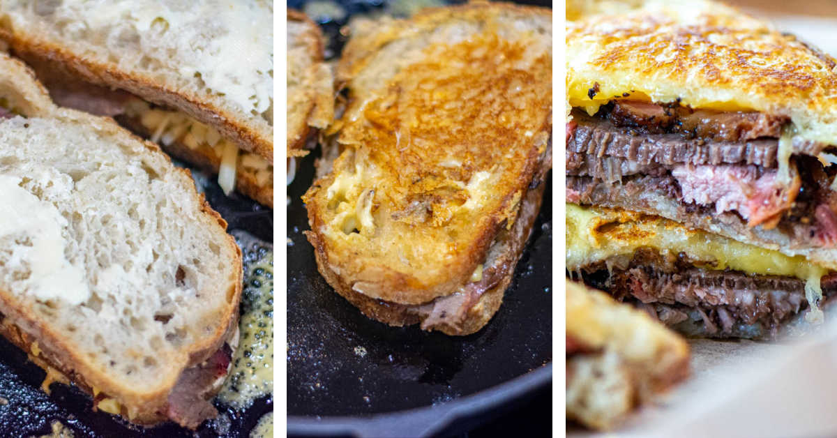 photos showing the process to make the sandwich from buttering the bread, cooking it in the skillet and then the final sandwich.