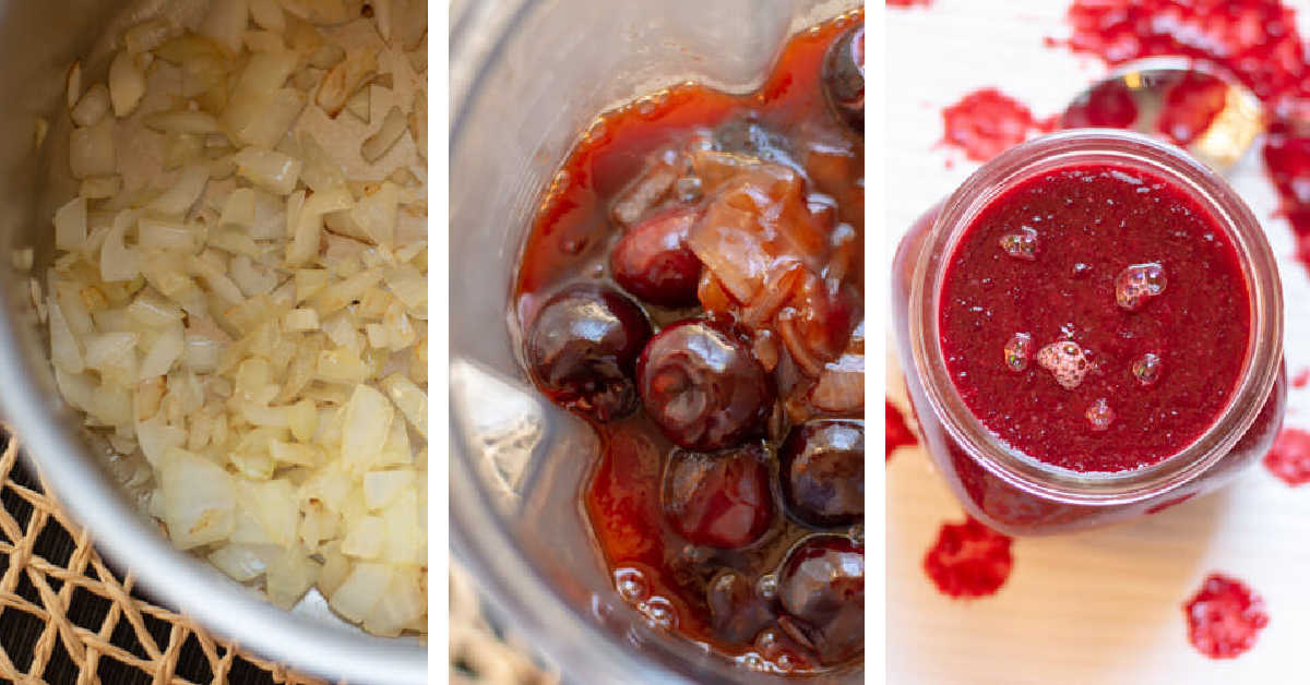 three photos showing sautéing the onions, blending the cherries and serving in a jar.