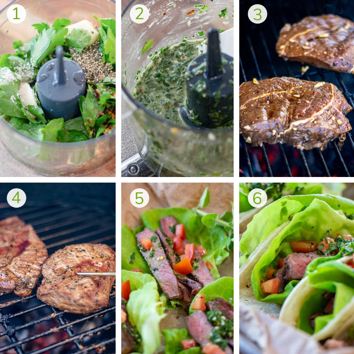 process photos showing making the chimichurri and grilling the sirloin steaks.
