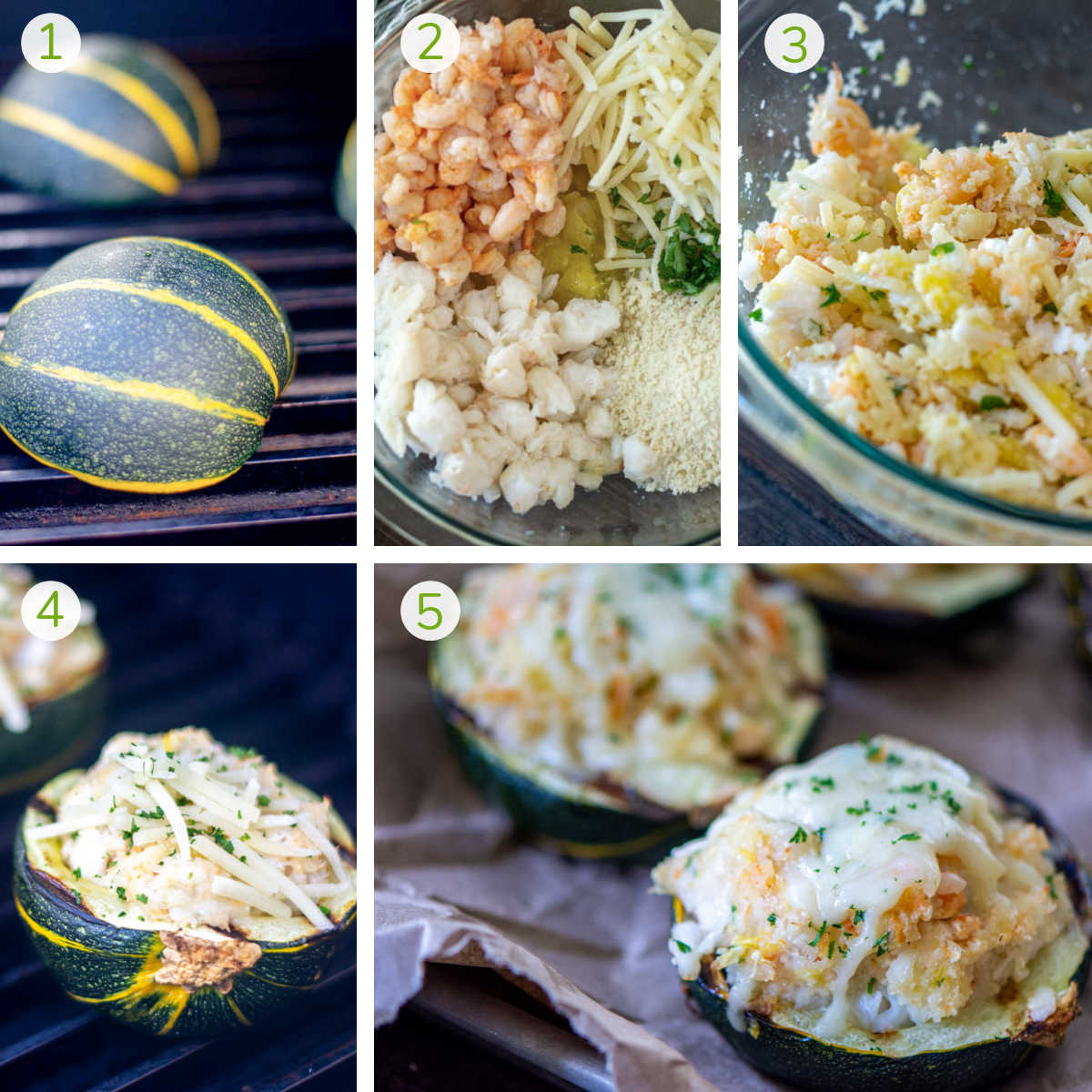 several process photos showing grilling the squash, stuffing it with seafood mix, topping with cheese and grilling.