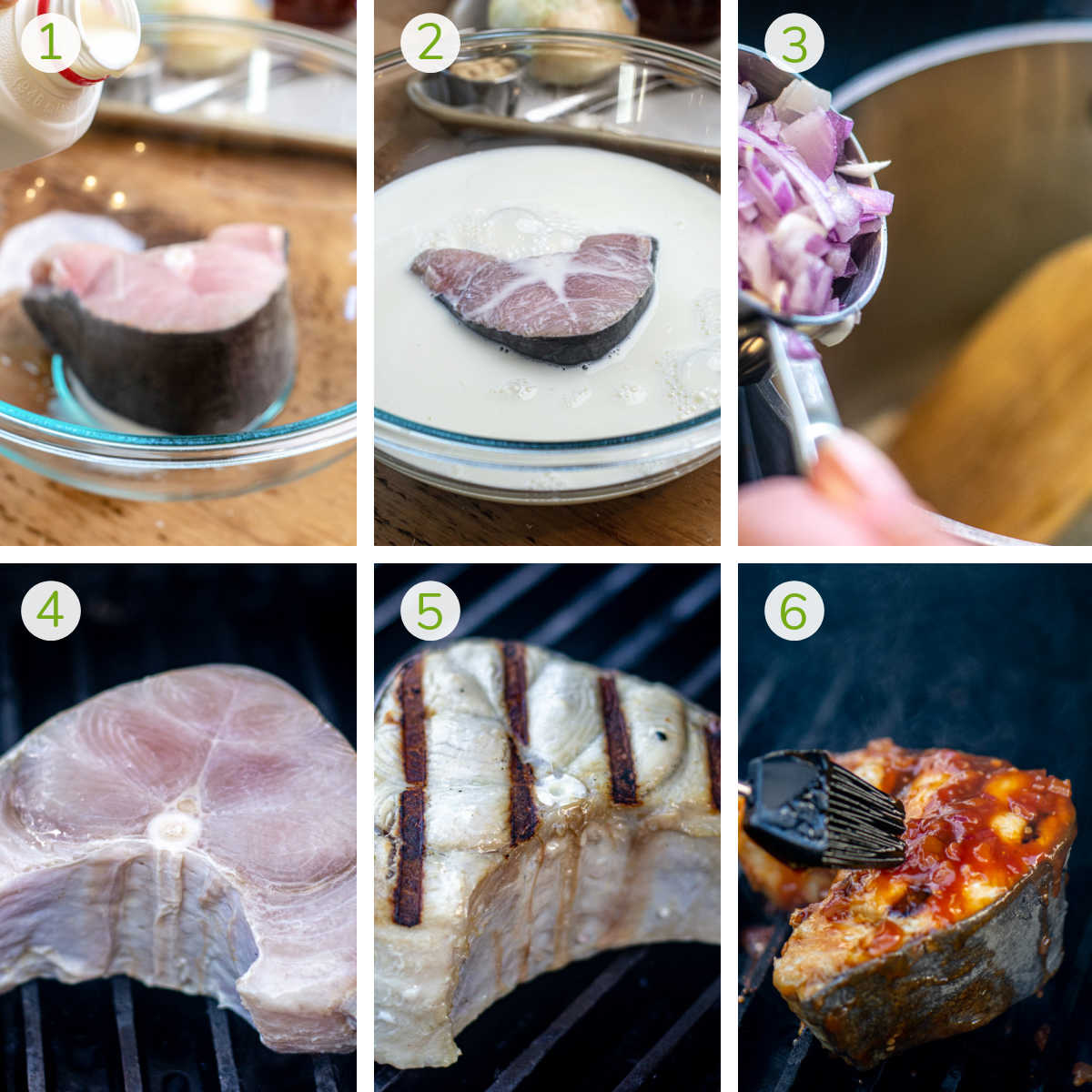instruction photos showing how to soak the shark in milk, make the sauce and then grill the shark steak.