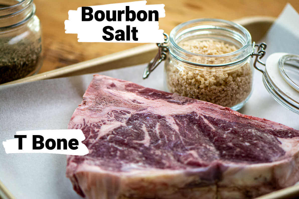 ingredients for the t bone steak and the bourbon salt.