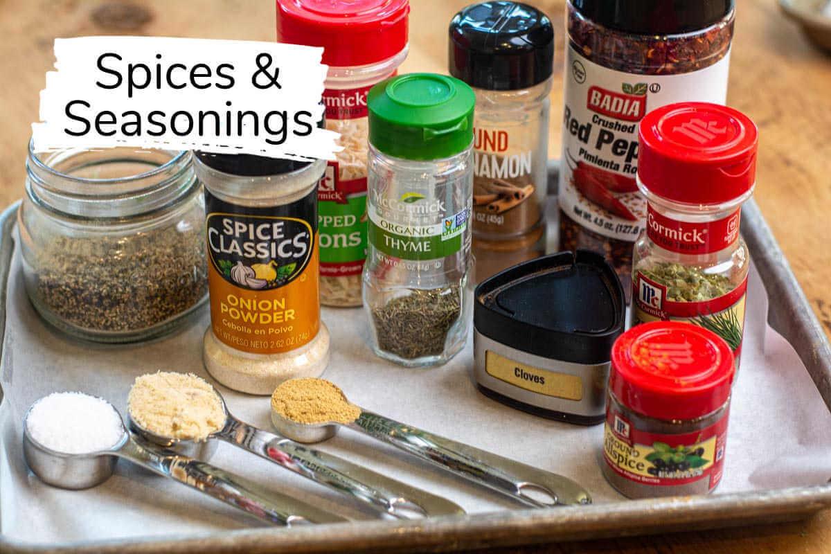sheet pan with the ingredients needed to make the jerk seasoning.