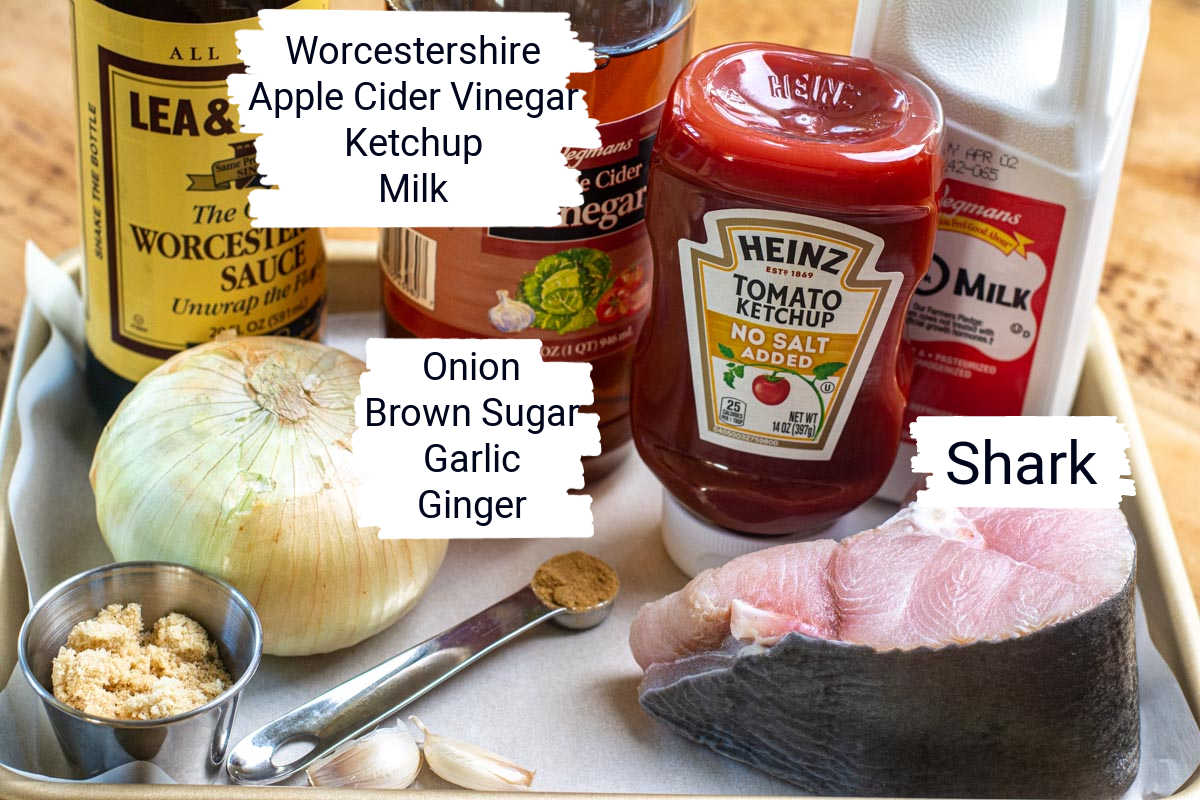 ingredients on a sheet pan with labels.