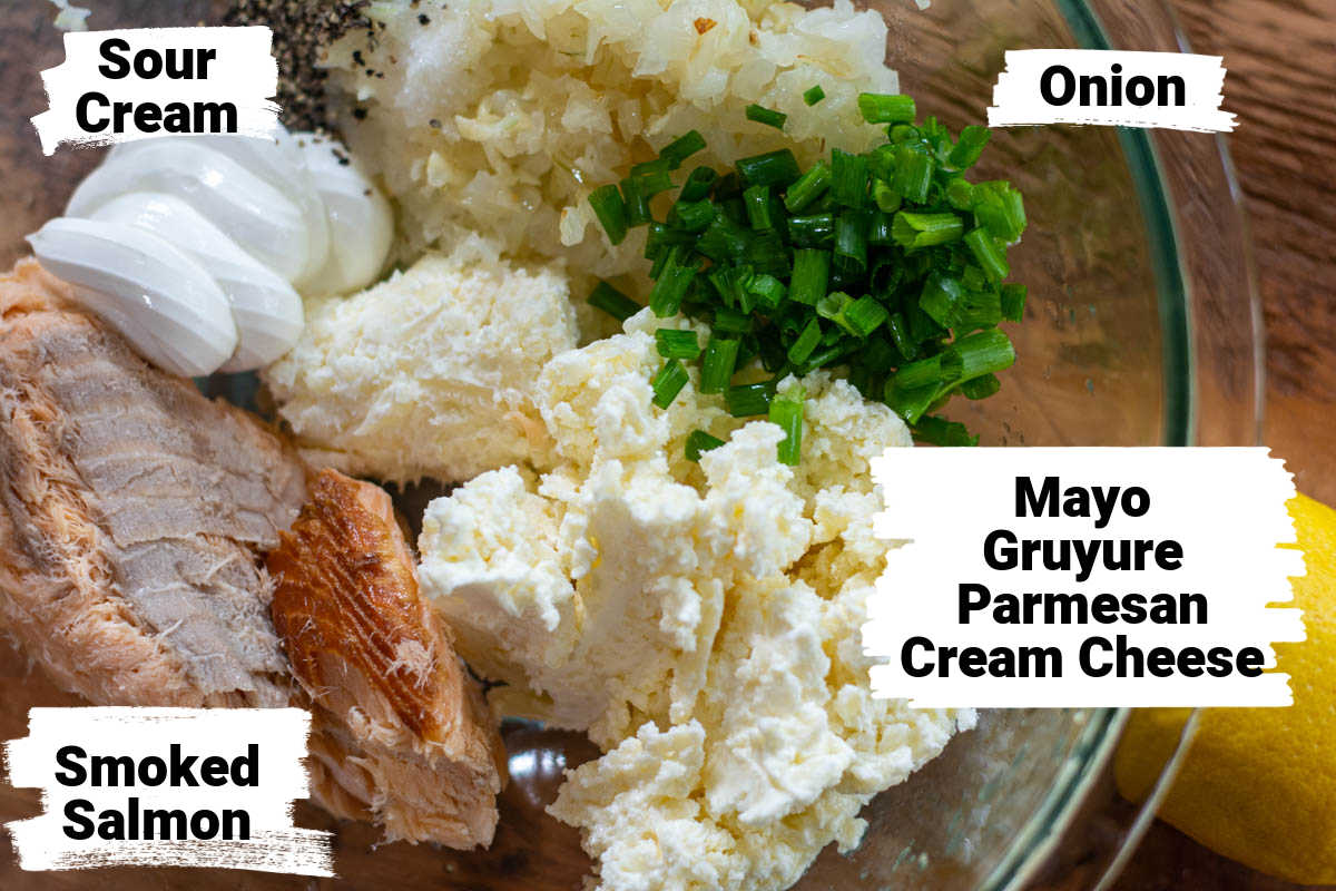 ingredient photo showing everything combined in a bowl with labels.