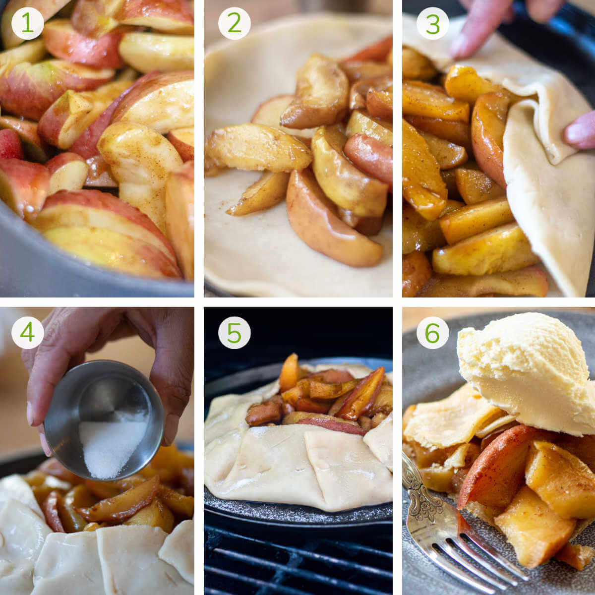 several process photos showing making the apple pie filling, folding the crust, grilling and serving.