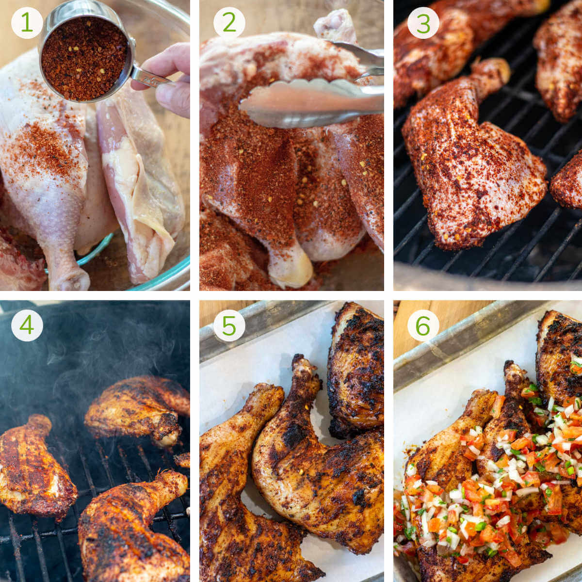 process photos showing rubbing the chicken with a dry rub, grilling and then topping with fresh pico.