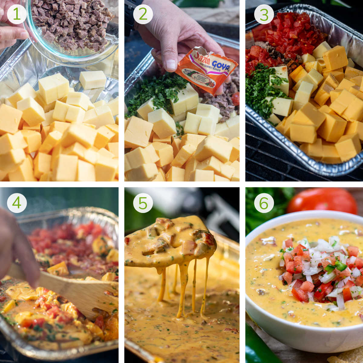 several process photos showing how to add the ingredients to a disposable pan, smoking the queso and serving.