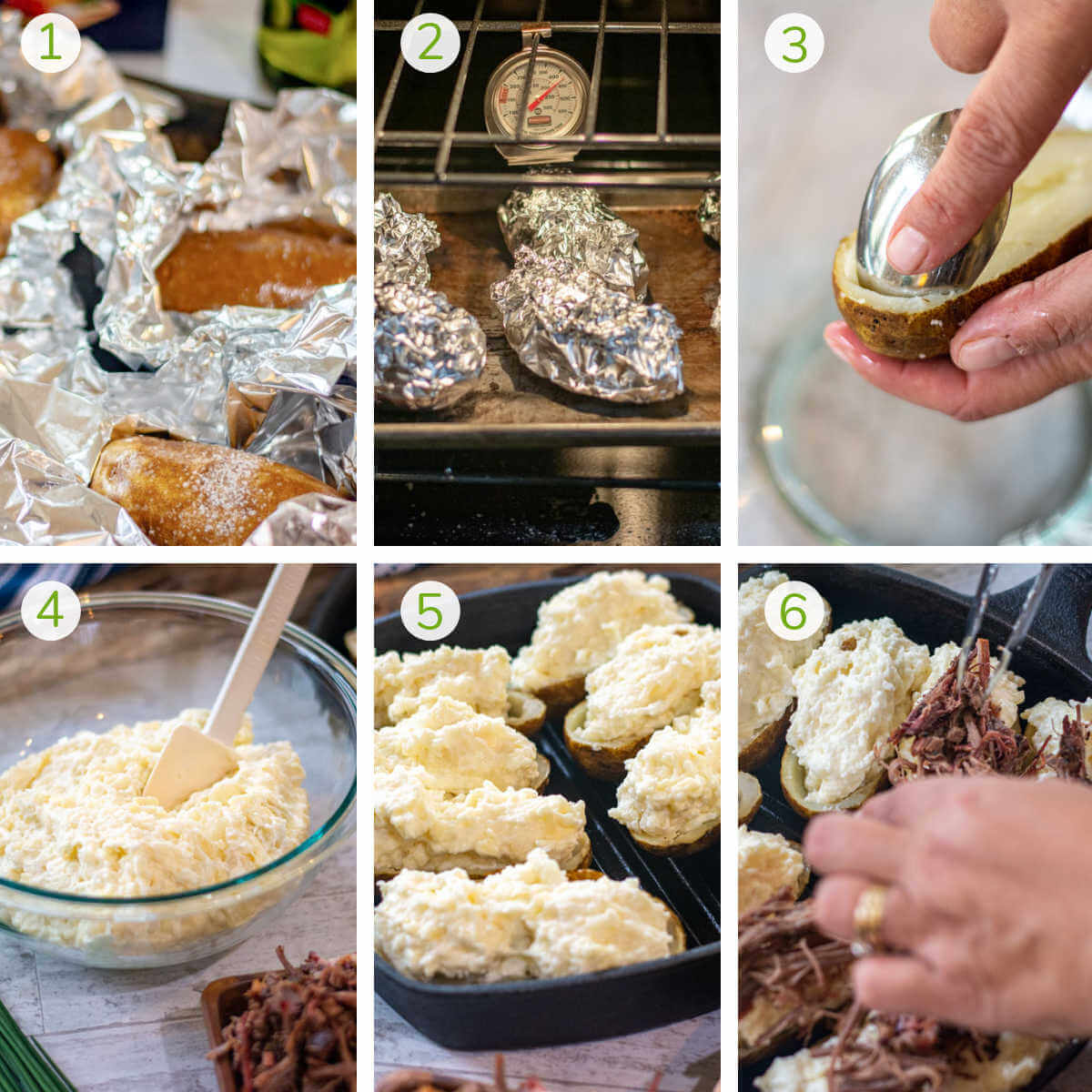 process photos showing baking the potatoes, scooping out the center, mixing and loading with brisket.