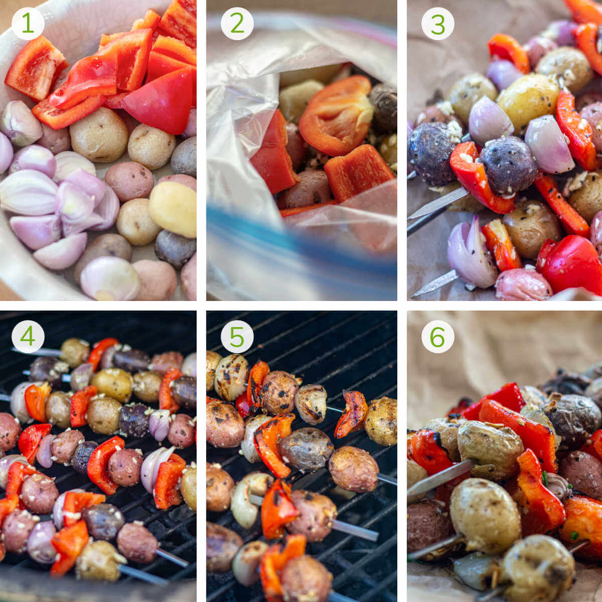 several process photos showing chopping the vegetables, adding to a Ziploc to coat with seasoning and grilling.