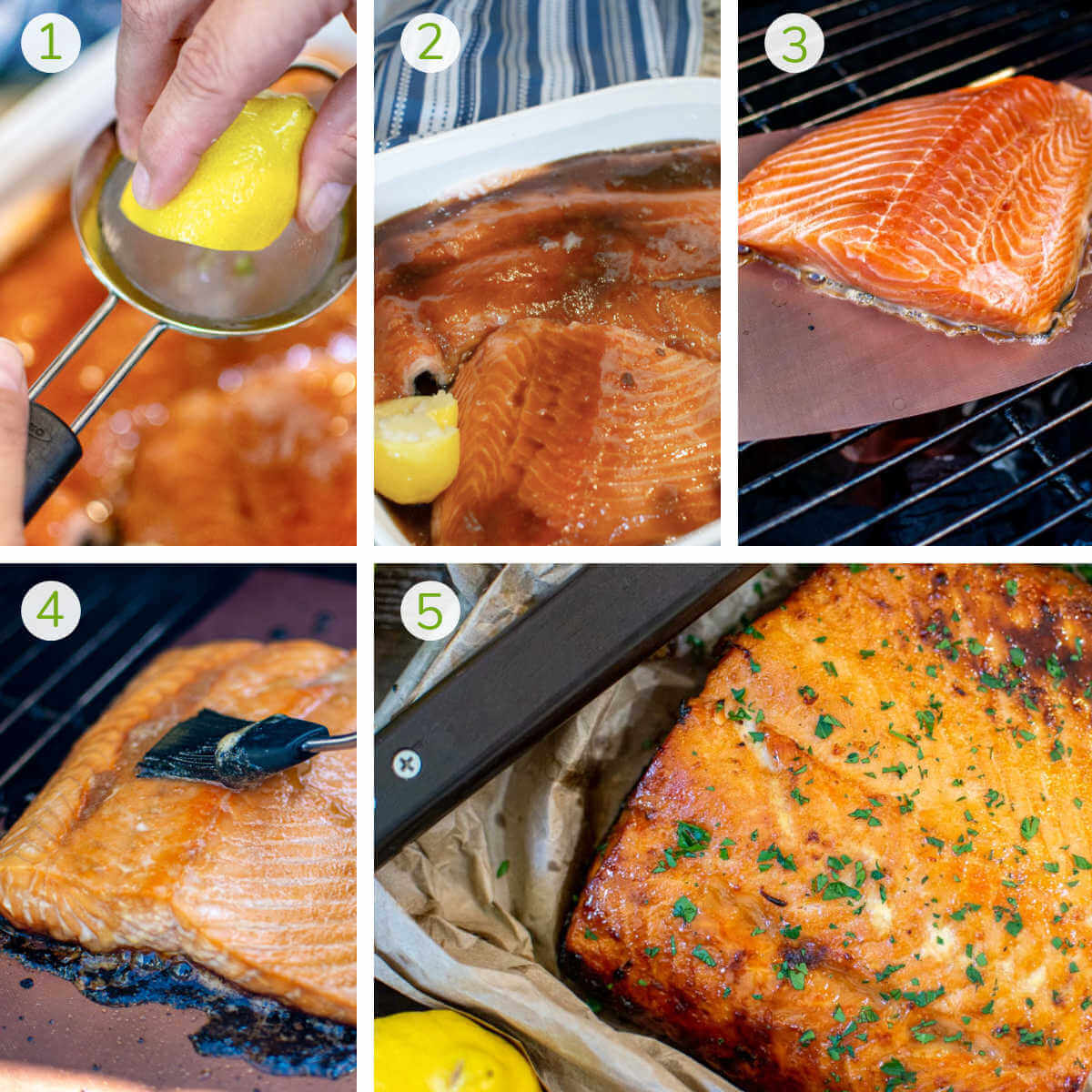 several process photos showing squeezing a lemon marinating the salmon with brown sugar and grilling on a copper mat.