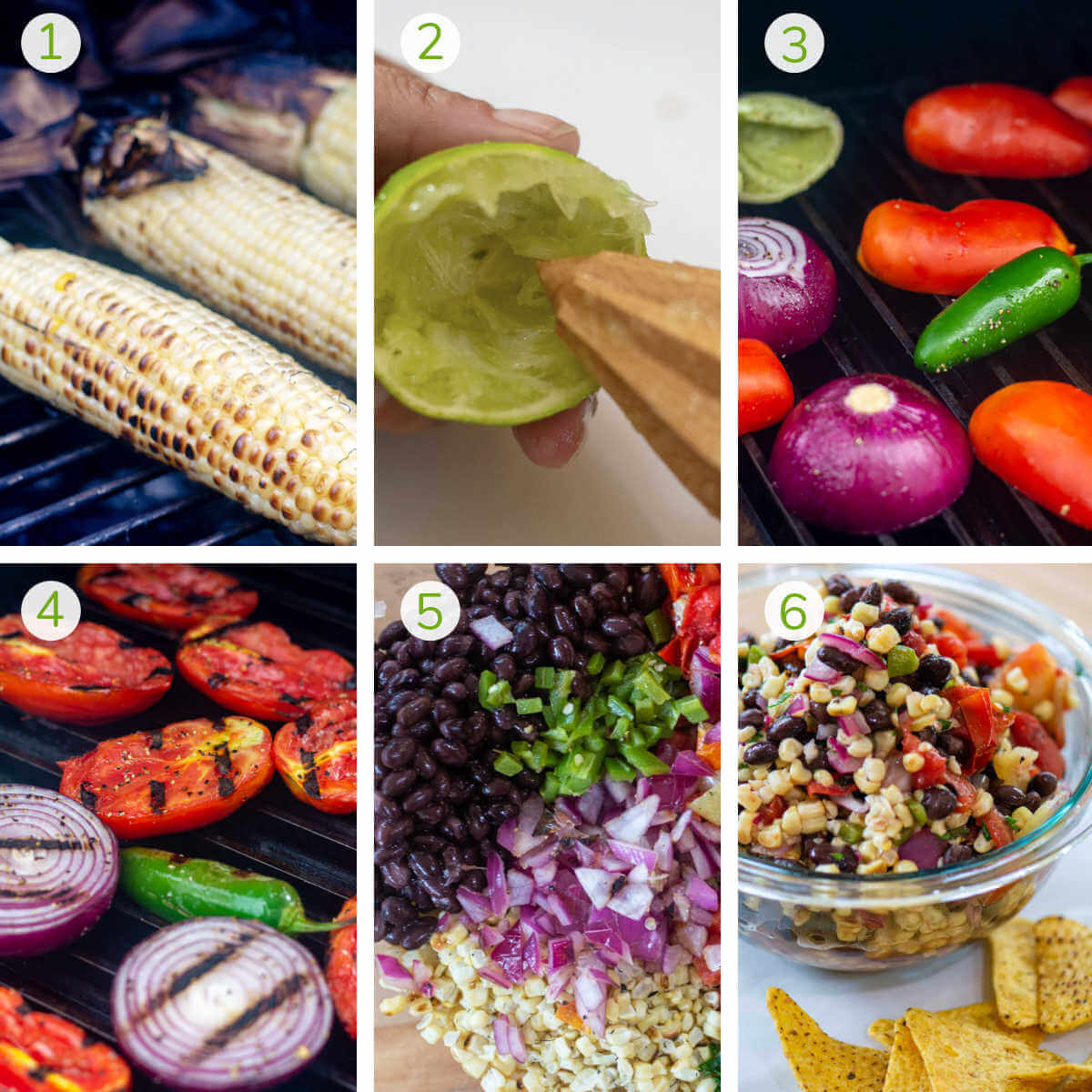 step by step instructions to grill corn, then the vegetables, mix and turn into a corn salsa.