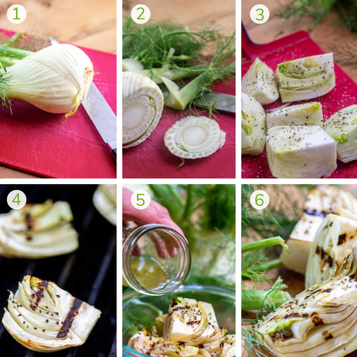 instruction photos showing how to trim the fennel bulb, quartering and seasoning it, grilling and adding the vinaigrette.