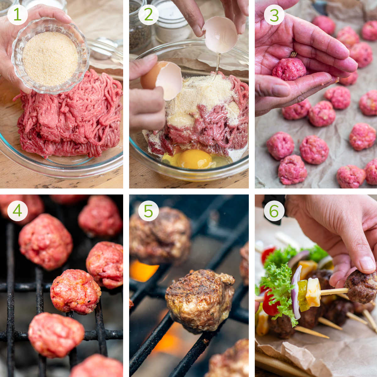 process photos showing making the meatball mix, forming them into balls, grilling and then adding to wooden skewers.