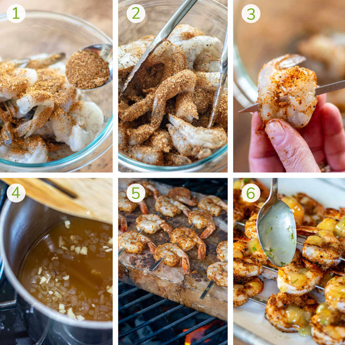 step by step photos showing seasoning and skewering the shrimp, making the sauce, and grilling on a Himalayan Salt Block.