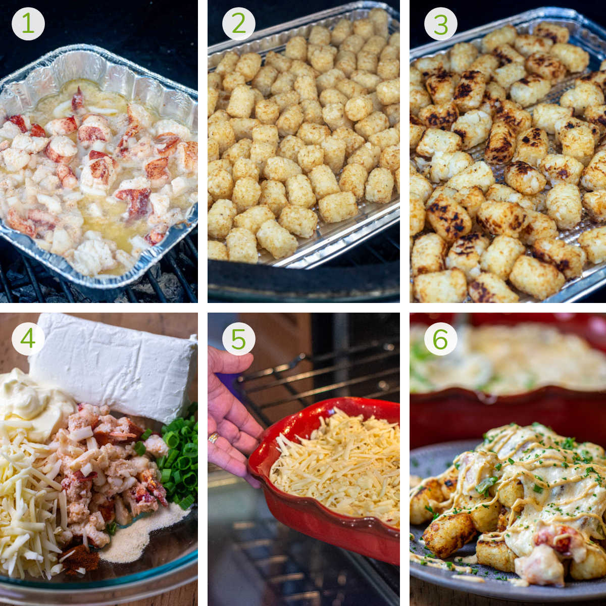 six photos showing grilling the mixed seafood, then the tater tots, making the dip and layer over the tots on a plate.