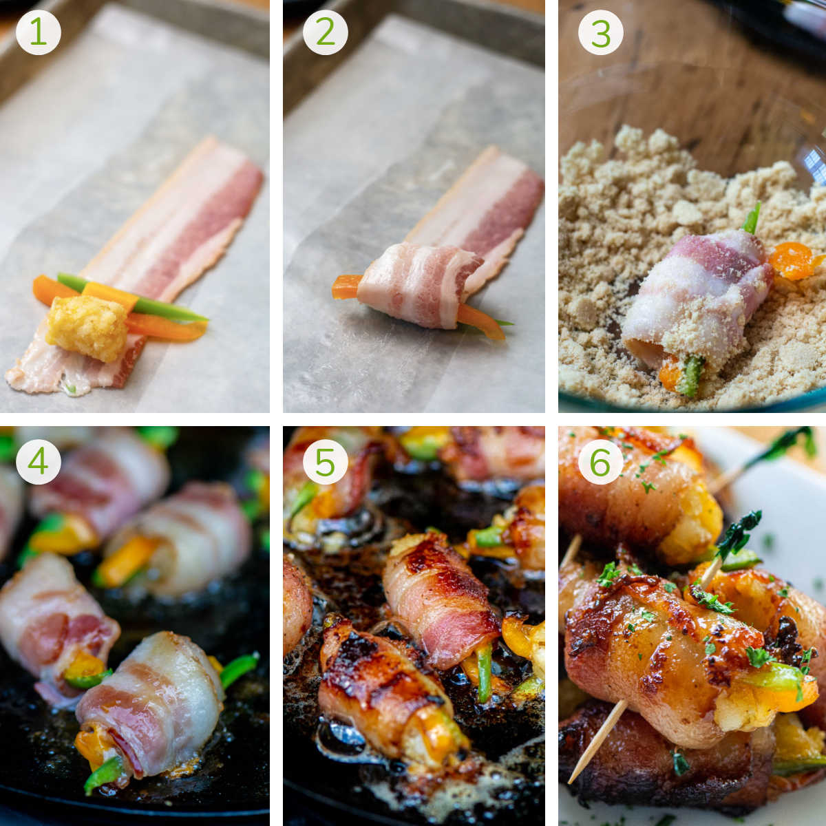 process photos showing wrapping the tater tot, grilling it and serving it with toothpicks.