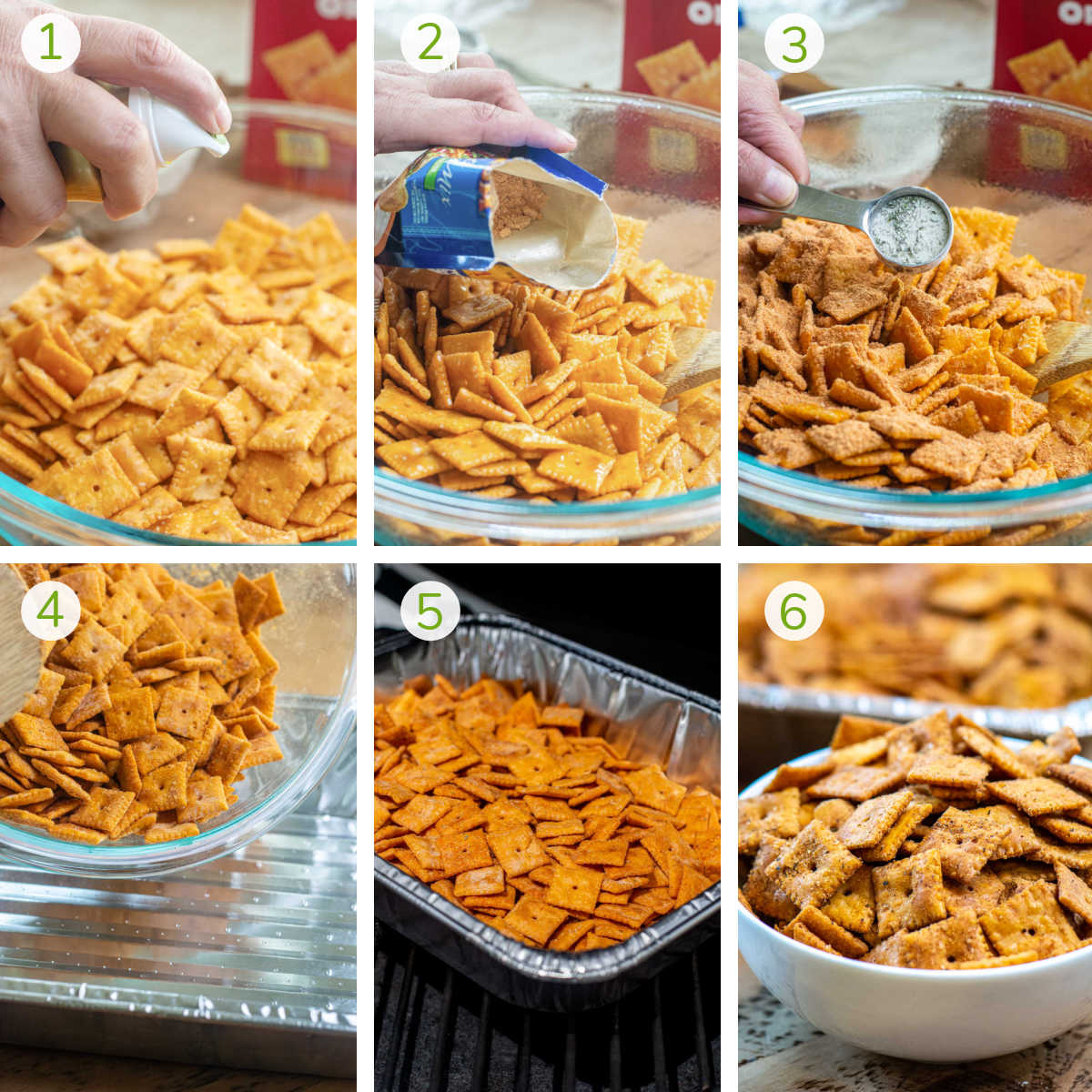 process photos showing seasoning the cheez its, adding to a disposable pan, smoking and serving.