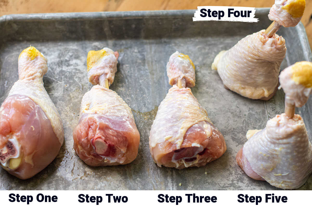 photo of the chicken legs and the five stages of trimming to turn them into lollipops.