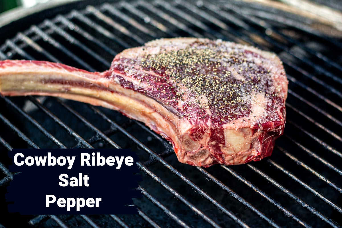 ingredient photo showing the ribeye with salt and pepper on the grill grate with labels.