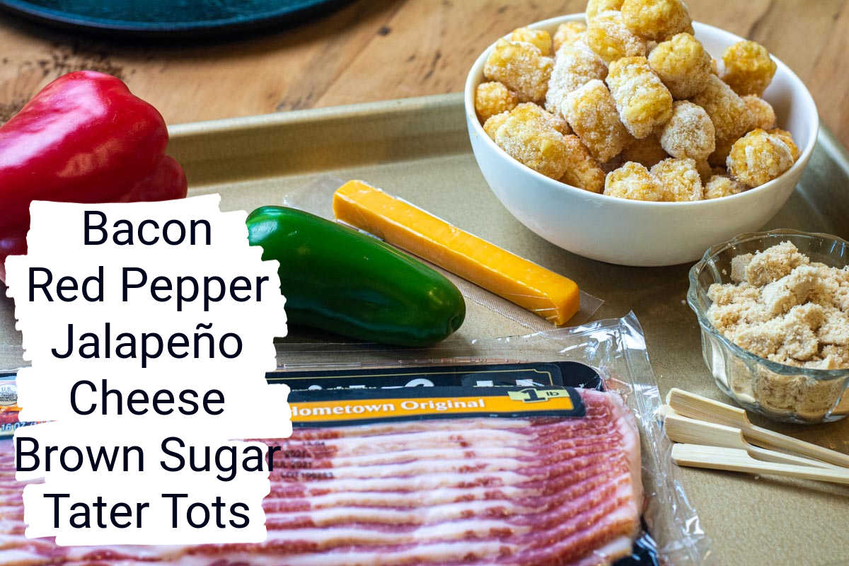 ingredients for the tater tot bombs on a sheet pan with labels.