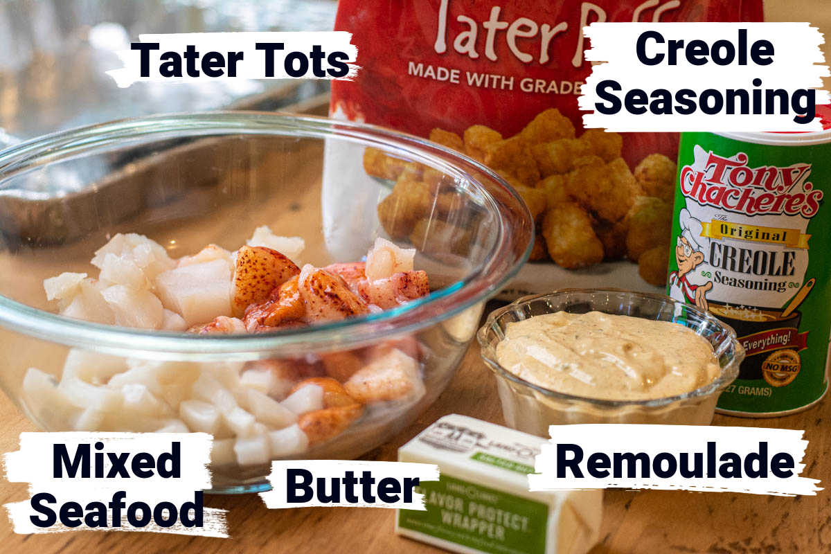 ingredient photo for mixed seafood, tater tots, creole seasoning all with labels.