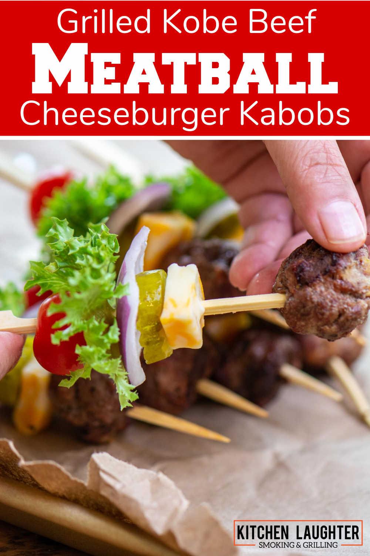 Grilled Kobe Beef Cheeseburger Kebabs {20 Minutes}