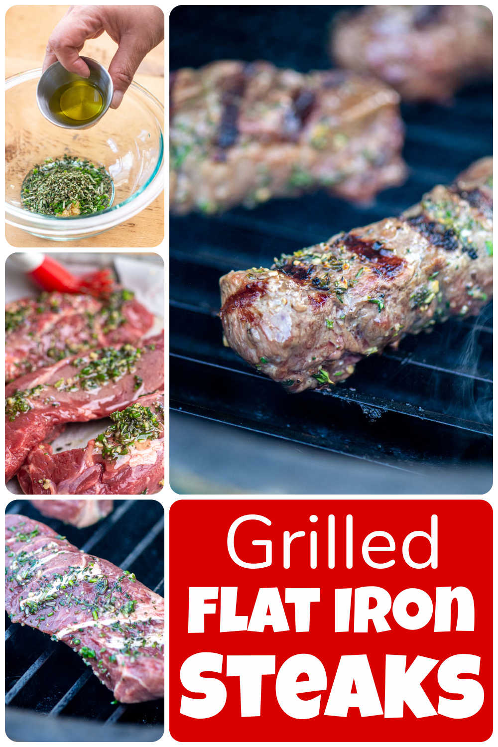 Grilled Herb Crusted Flat Iron Steaks {15 Minutes}