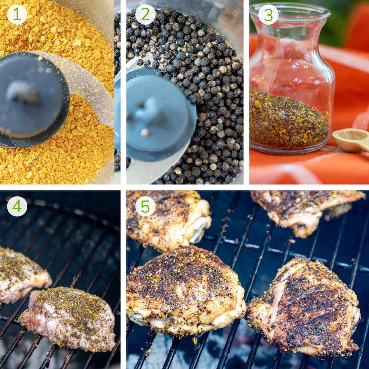 process photos showing how to make the seasoning in a food processor and then adding it to chicken and grilling.
