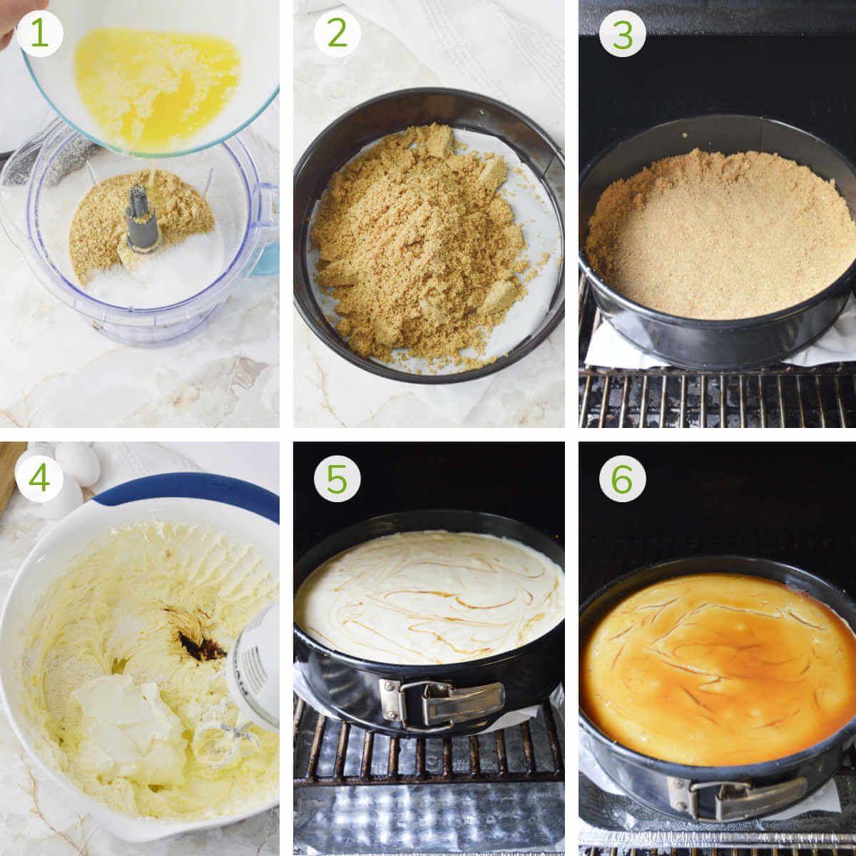 series of process shots showing how to make the crust, smoke it, and then fill with a creamy caramel filling.