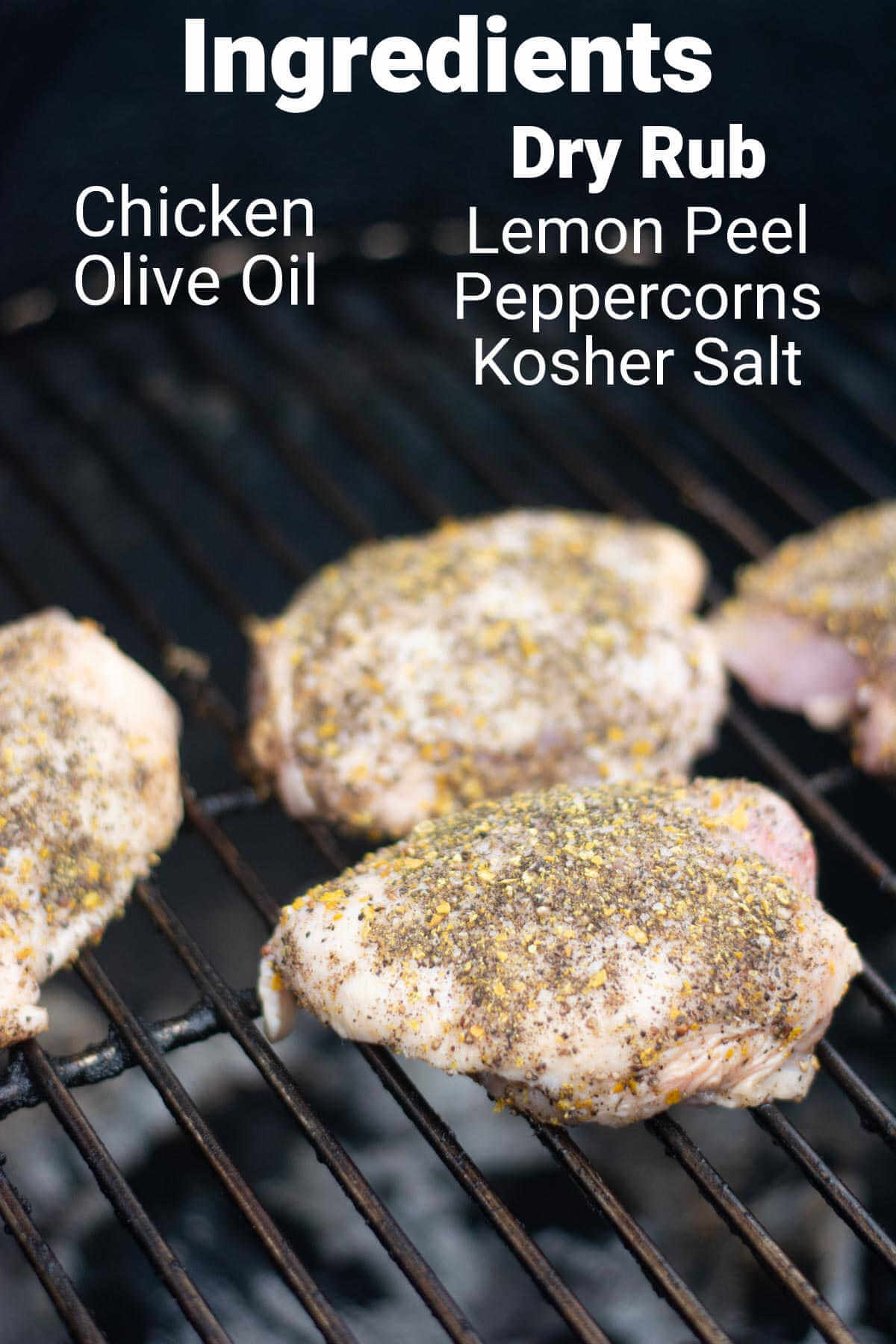 ingredient photo showing the chicken covered in the seasoning on the grill with labels.