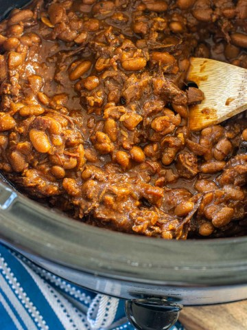 baked beans in the slow cooker after they have thickened.
