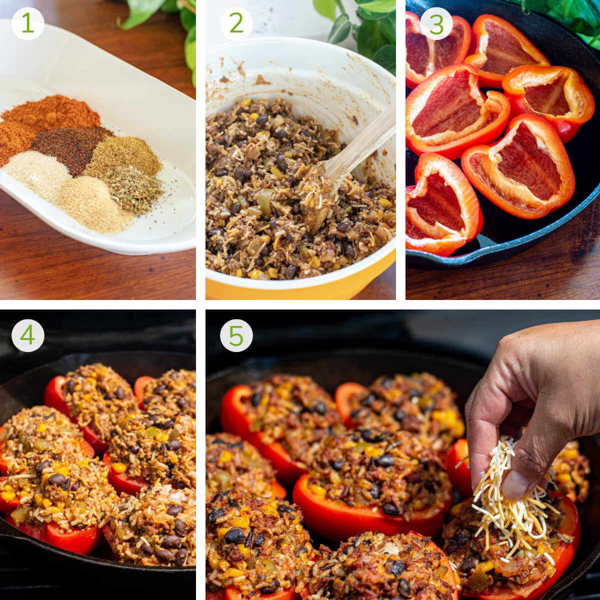 instruction photos showing how to make the seasoning, then the bean filling, and grilling the peppers.