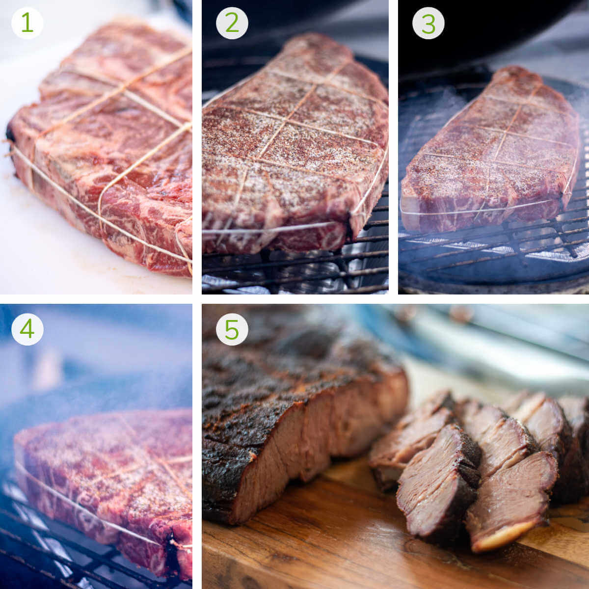 instruction photos showing how to wrap the chuck roast in twine, season and smoke it and then sliced.