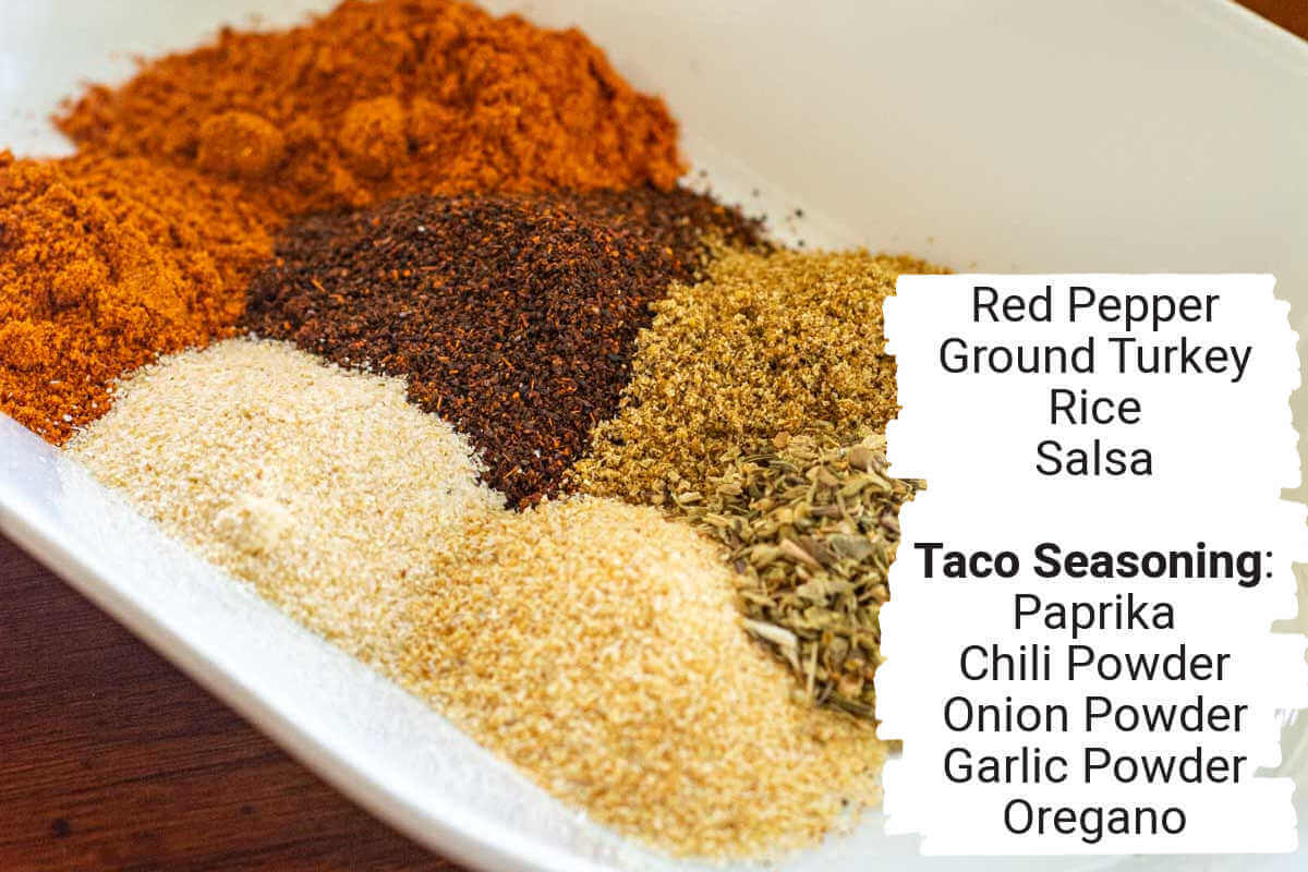 ingredient photo showing the seasonings on white dish and labels.
