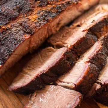 Smoked Chuck Roast sliced and cooked and ready to eat.