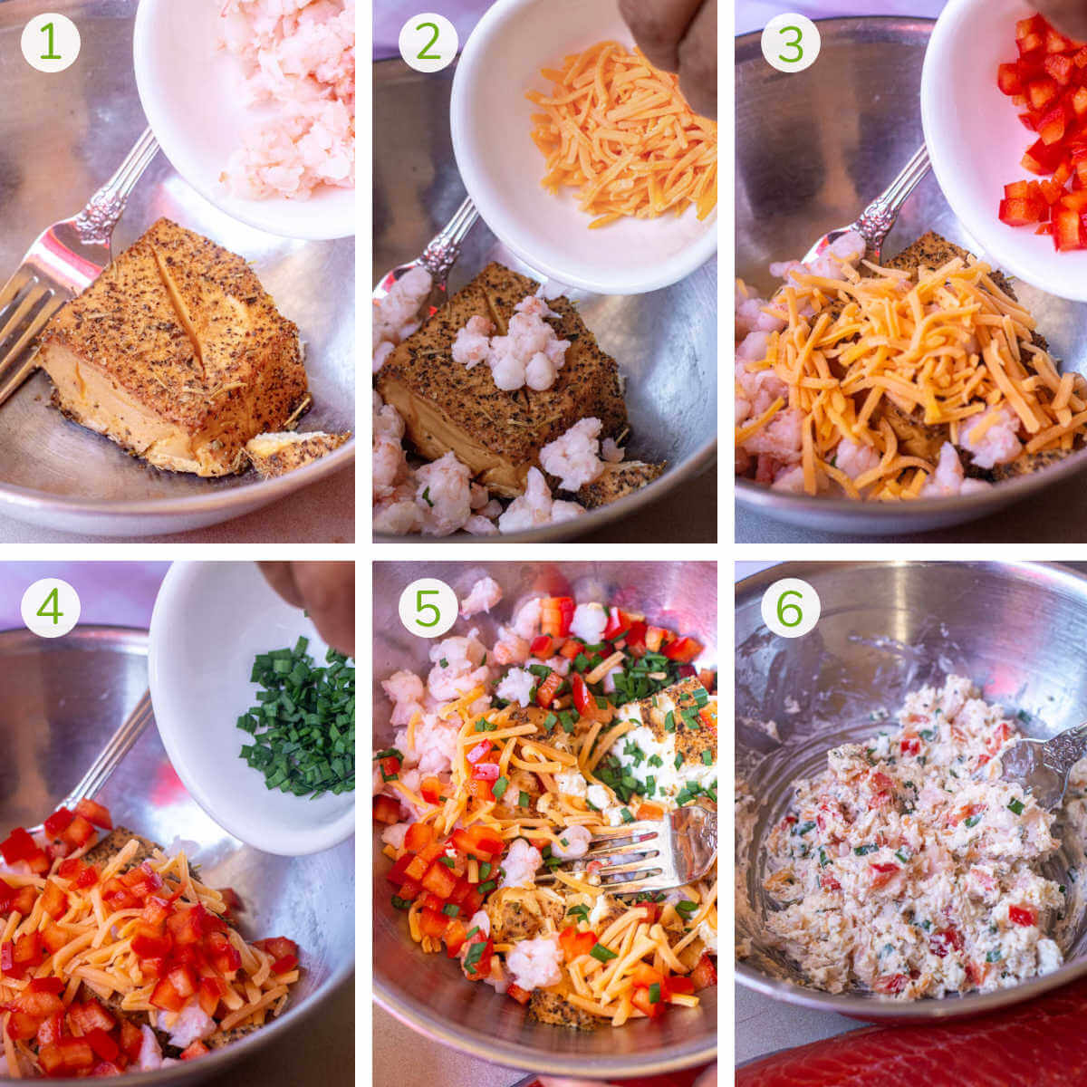process photos showing how to mix the ingredients and turn it into the smoked cream cheese filling.