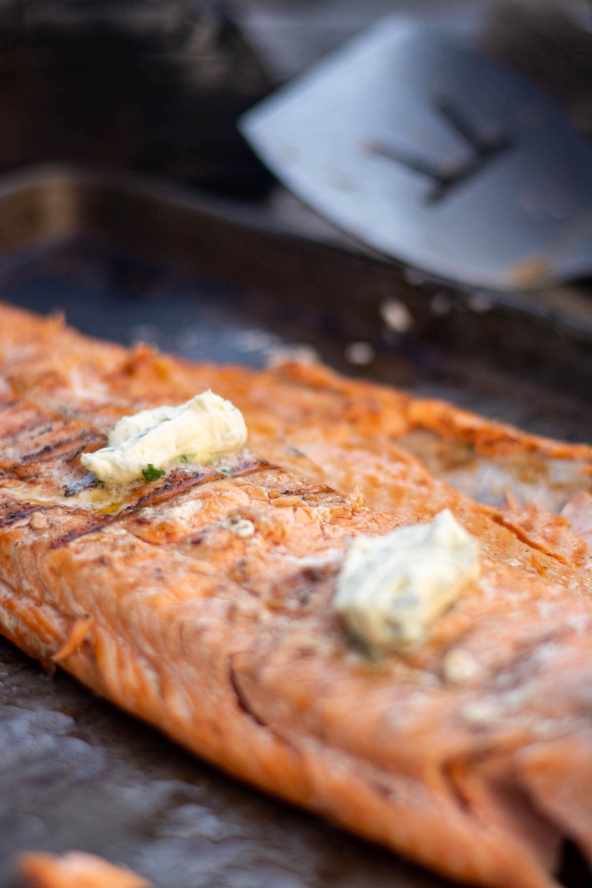 steelhead fillet on a sheet pan with two pads on an herbed butter.