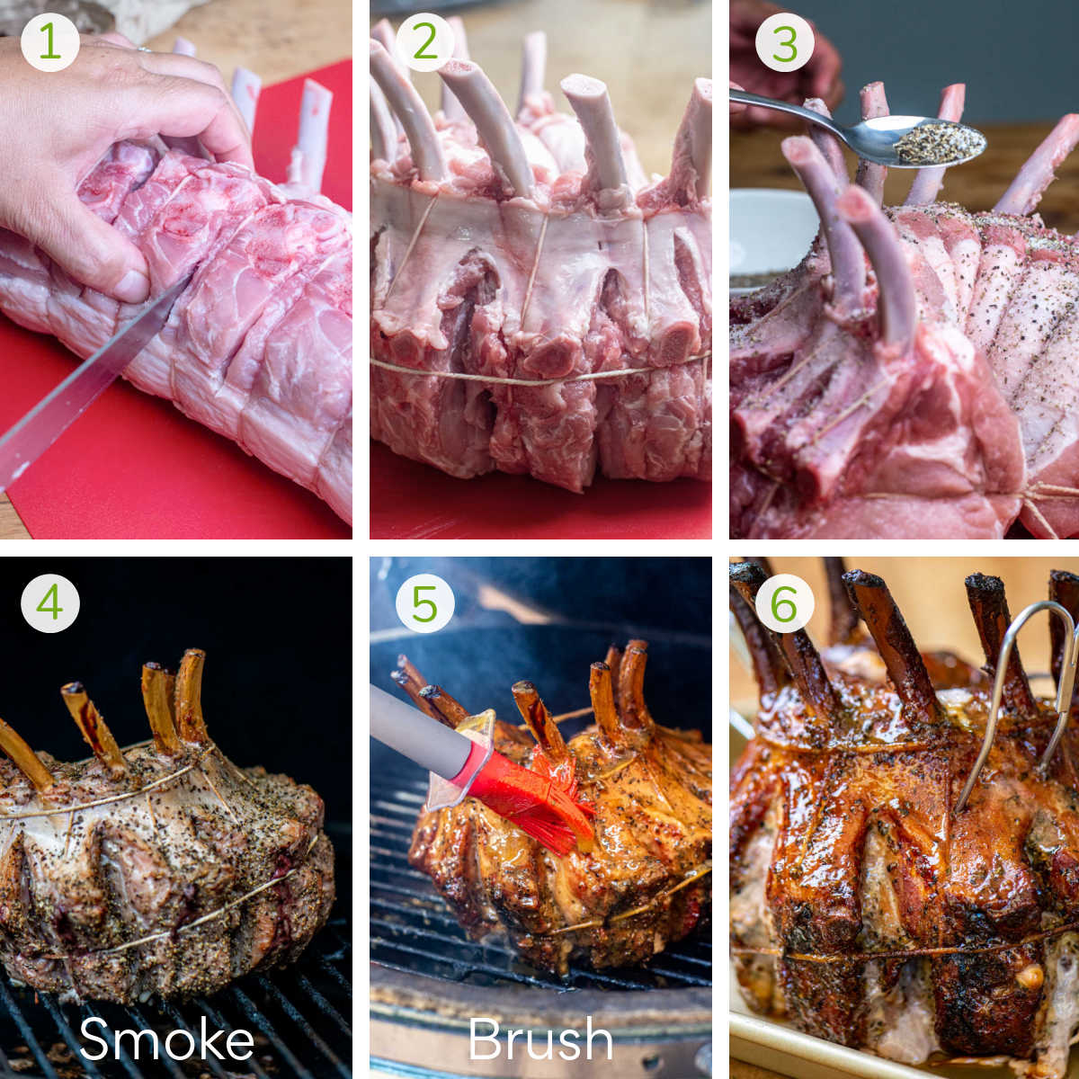 six instruction photos showing slicing the pork, trussing, seasoning, smoking, and adding a glaze.